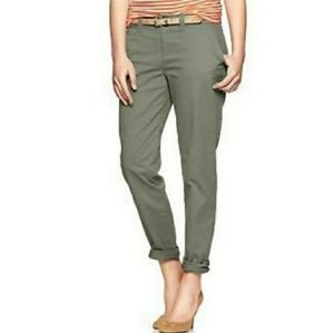 GAP Olive Green Broken In Straight Crop Twill Pant